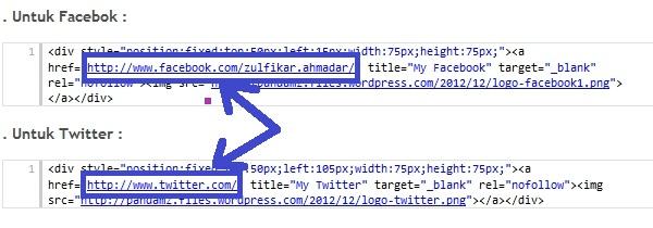 Code Facebook dan Twitter