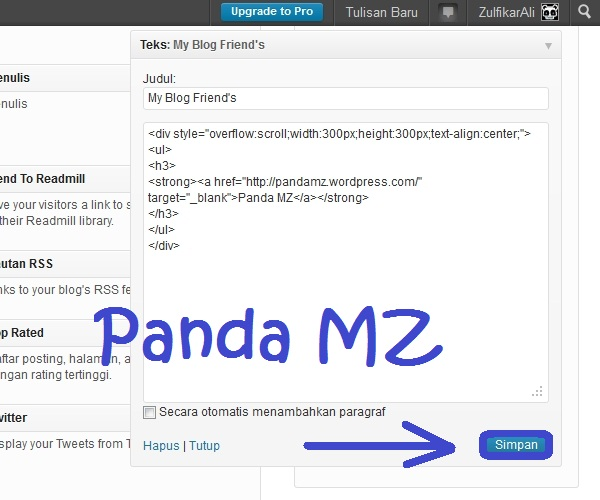 My Blog Friends Widget Panda MZ